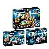 PLAYMOBIL® Super4 3er Set 9000 9002 9003 Piraten-Chamäleon mit Ruby + FulguriX mit Agent Gene + Skyjet mit Dr X und Roboter -