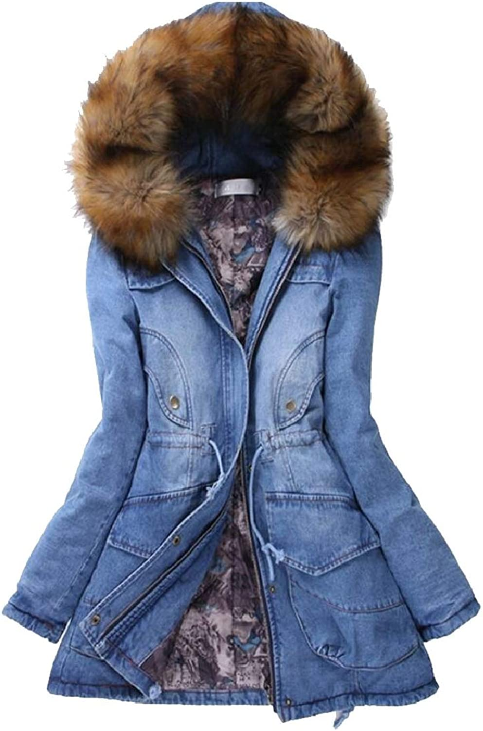RGCA Women's Denim Thick FauxFur Collar Mid Long Length Down Jacket Coat