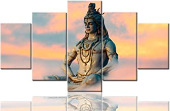 Shiva Painting Indian God of Hindu Pictures on Canvas Wall Decorations Pictures 5 Panel Canvas Art Modern Artwork Home Decor for Living Room Wooden Framed Gallery-wrapped Ready to Hang(60''Wx32''H)