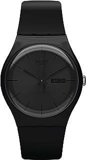 ساعة بسوار سيليكون ومينا سوداء للجنسين من سواتش - SUOB702