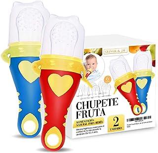 Chupete Fruta Bebe - Alimentador Antiahogo Bebe - Mordedores Bebes de Oliver & Jay - Baby Fruit Feeder - Mordedor Bebe con Forma de Biberon