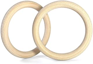 Double Circle Wood Gymnastic Rings, and Exercise Videos Guide for Gym, Compatible with Crossfit, and Bodyweight Training (...