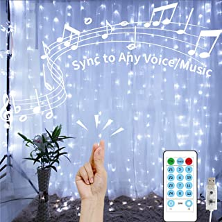GHodec Curtain Lights String with Voice Activated,USB Powered 300 LED White Hanging Lights for Bedroom Christmas Decorative,4 Music Settings Can Sync to Any Sound (9.8Ftx9.8Ft)