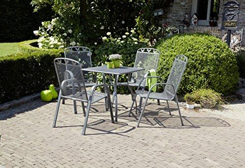 greemotion Gartentisch Toulouse eckig, quadratischer Tisch aus kunststoffummanteltem Stahl, Esstisch mit Niveauregulierung, eisengrau, 70 x 70 x 72 cm - 6