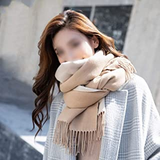 YANGBM Scarf Wool Solid Color Cashmere Shawl Scarf Double-Sided Female Autumn and Winter Wild Thick Warm Winter Bib (Color : E)