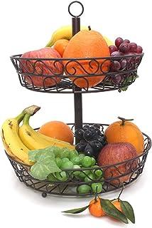 Boîte de Rangement Panier à double couche de fer Double couche Cuisine Restaurant pliable Fruit Stockage Plancher Plateau ...