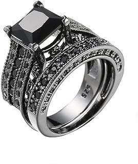 Women Band Ring,Vanvler [ Engagement Wedding Ring Set ] Vintage 2-in-1 Diamond Ring Silver