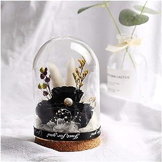 プリザーブドフラワー バレンタインデーの誕生日の結婚式のギフトのための美しいガラスカバー花を飾る永遠のローズフラスコフラワー花 LKYJP (Color : ブラック, Size : フリー)