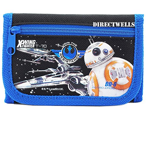 Disney Star Wars Robot Character Authentic Licensed Trifold Wallet (Black)