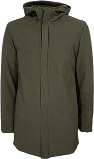 HOX Chaqueta de plumón para hombre, modelo XU3326, color verde barro, con cremallera y capucha