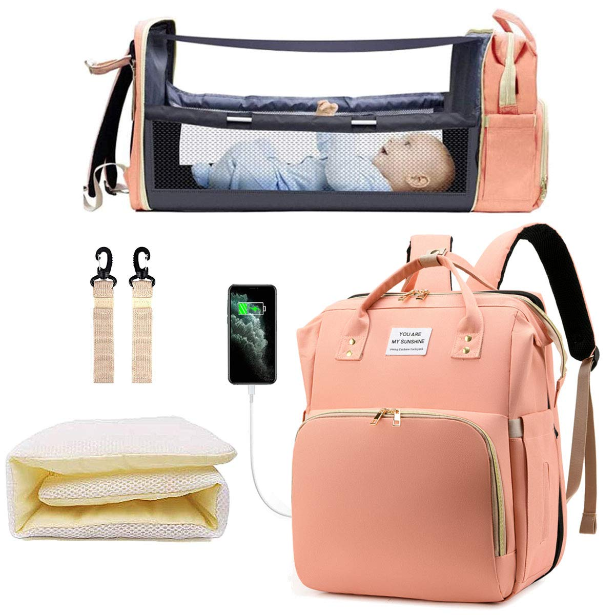 Diaper Bag Backpack with Changing Station, Baby Registry Search Gift by Name, Portable Waterproof Mummy Bag with Extendable Folding Crib, Baby Must Haves Shower Gifts for Girls Boys Dad Mom (Pink)