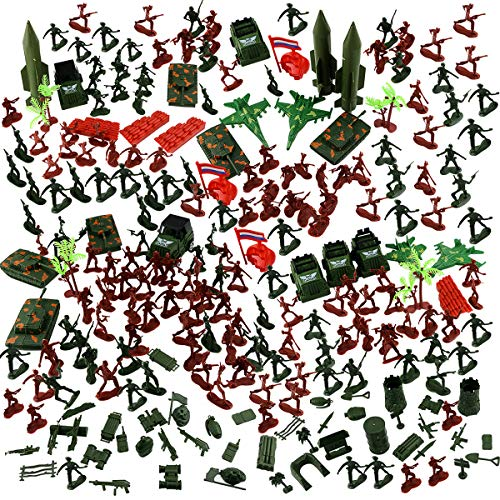 Oopsu 300Pcs Army Action Figures Set Army Military Battle Set Plastic Army Men Soldiers Tanks Planes and Toy Military Fortress for Party Favor Role Playing Gaming