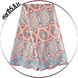WorthSJLH Swiss Voile Lace in Switzerland White Pink Cotton African Lace Fabric for Men 2019 Latest Dry Lace Fabric 5 Yards LF941 (Nude)