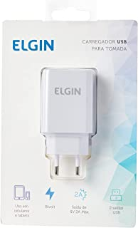 Carregador USB de Tomada Bivolt 2 Saídas 2 A, 10 W, Elgin, 46RCT2USB000, Branco