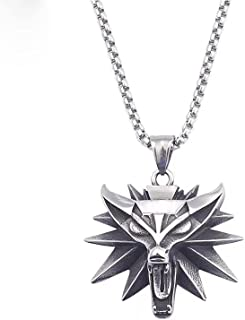 ASFSD Heren Witcher 3 roestvrij staal Wolf hoofd ketting hanger met 316L ketting, geschikt voor unisex charme sieraden ges...