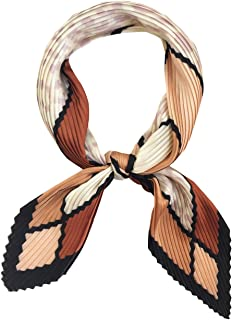 Womens Neckerchief Pleated Plaid Silk Like Scarf Retro Spring Skinny Head Scarfs