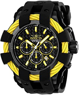 Men's Bolt Stainless Steel Quartz Watch with Silicone Strap, Black, 32 (Model: 23871)