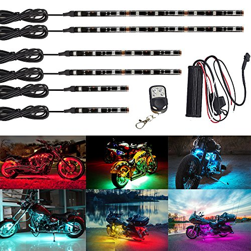 NBWDY 6Pcs Led Light Kits Multi-Color Wireless Remote Control Motorcycle Atmosphere Lamp RGB Flexible Strips Ground Effect Light for Motorcycle