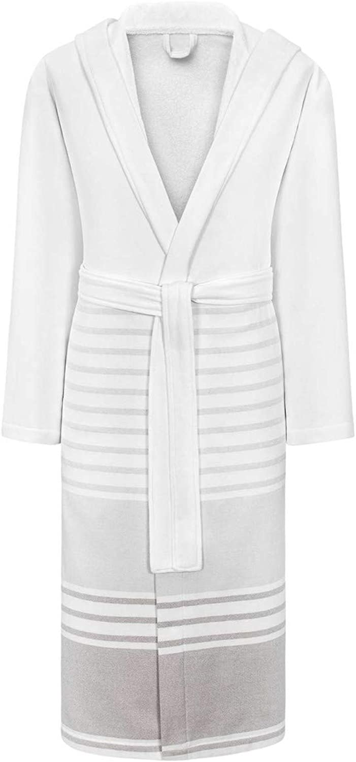 Togas Snow-White and Light Gray Lightweight Robe HAMMAN - 95% Cotton 5% Polyester