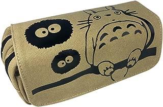ASLNSONG My Neighbor Totoro Pencil Case Canvas Double Zipper Pen Box Makeup Pouch (Totoro C)