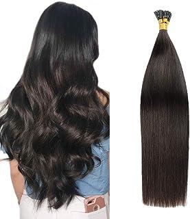 Tip Human Hair Extensions Full Head Keratin Hair Extensions 100Strands/Pack I Tip Remy Hair Extensions Long Straight For Ladies 0.8g Per Strand 80g Per Package(16''/40cm,#1B Black)