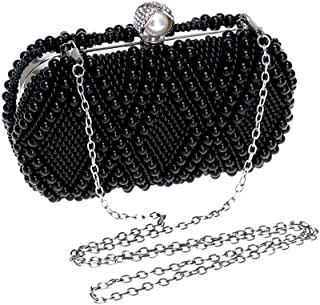 Runhuayou Women's Pearl Beaded Banquet Clutch Fashion Even Bag Nuptial Evening Bags Ladies Shoulder Messenger Bags Great for Casual or Many Other Occasions Such (Color : Black)