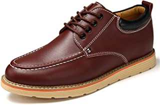 """DADIJIER Men's Oxfords Elevator Shoes 6cm / 2.5"""" Height Increasing PU Leather Lace Up Closure Abrasion Resistant (Color : Dark Brown, Size : 39 EU)"""
