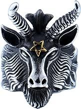 PMTIER Men's Stainless Steel Satan Star of David Ram Worship Baphomet Goat Head Biker Ring