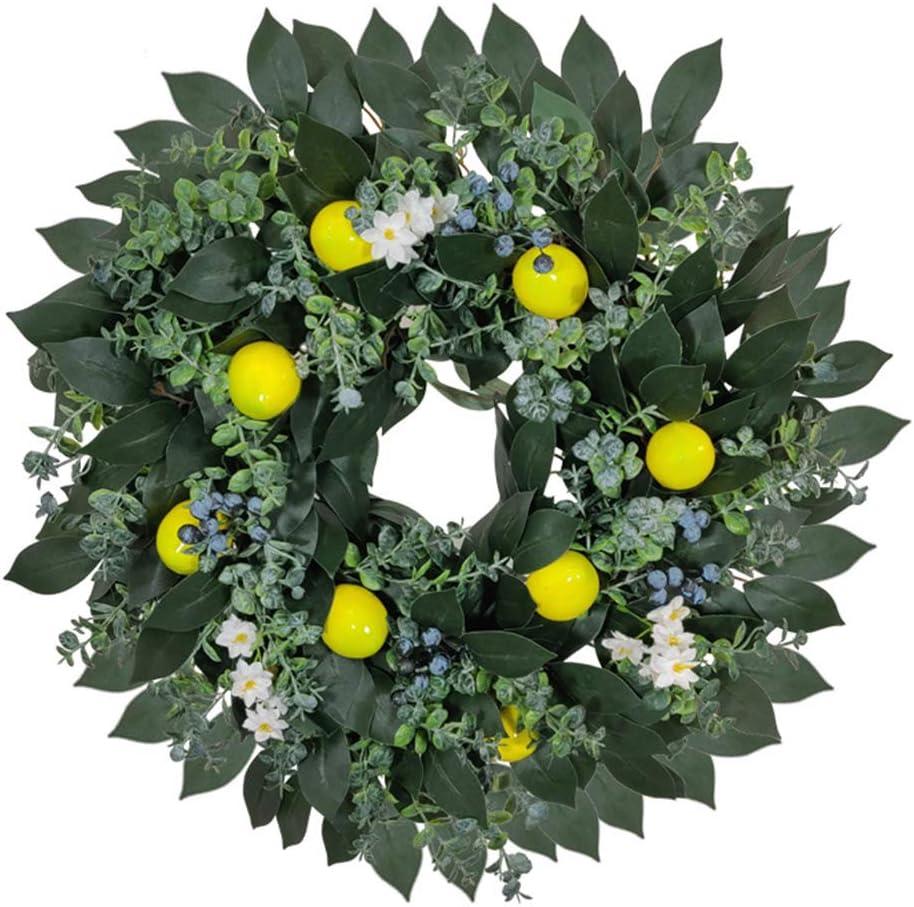 silverdiamond Corona artificial de flores de primavera de limón de arándano para decoración de boda de puerta delantera