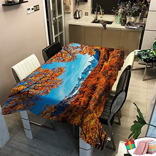 Morbuy Nappe Imperméable Rectangulaire,Carrée Anti Tâche Étanche à l'huile Lavable Couverture de Table 3D Imprimé pour Ménage Cuisine Jardin Exterieur Décoration (Rouge Feuille d'Érable,100x140cm)