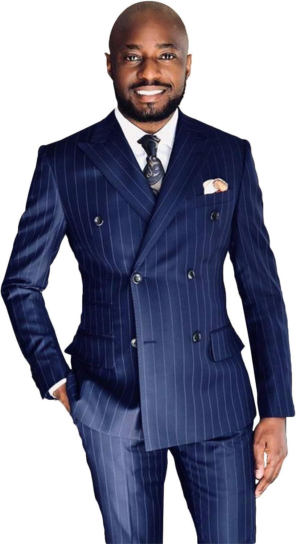 P&G Men's Stripe Two Pieces Peak Lapel Suit DoubleBreasted Classic-Fit Suit