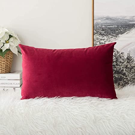 Your Smile Solid Color Cotton Linen Decorative Throw Pillow Case Cushion Cover Pillowcase For Couch Sofa Bed 12 X 20 Inches Burgundy Home Kitchen