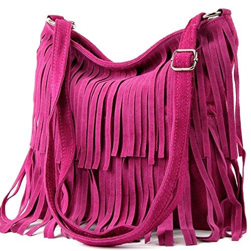modamoda de - T125 - ital Schultertasche Fransen Wildleder, Farbe:Pink