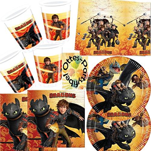 Dragons Drachen 53tlg. Partyset: Teller, Becher, Servietten, Tischdecke für 16 Kinder