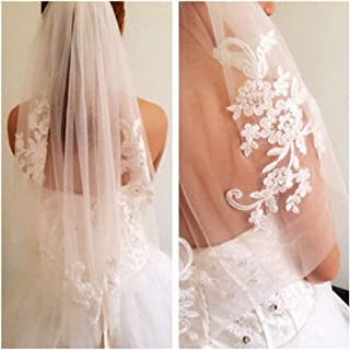 ZYFZD 1T White Ivory Lace Appliques Rhinestone Bridal Veil With Comb Wedding Women Elegant Hairbands One Layer Floral Embroidery (Color : Ivory)