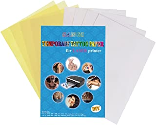 SANGI Temporary Tattoo Transfer Paper For Laser Printer Printable Custimized Water Slide Decal For Women Men Girls Kids DIY - 4 Sets Pack - A4 Size 11.7 x 8.3 Inches
