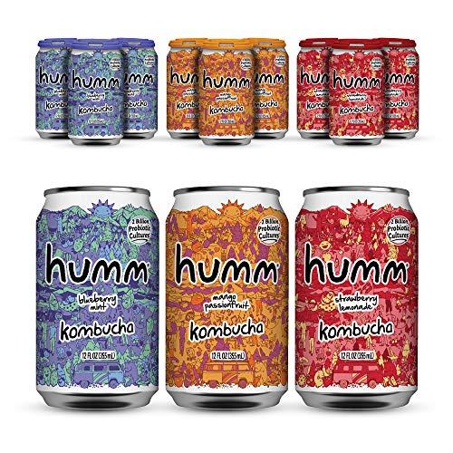 Humm Probiotic Kombucha Summer Variety Pack - 2 Billion Probiotics for Gut Health - Mango Passionfruit, Blueberry Mint and Hopped Grapefruit (24 Pack)