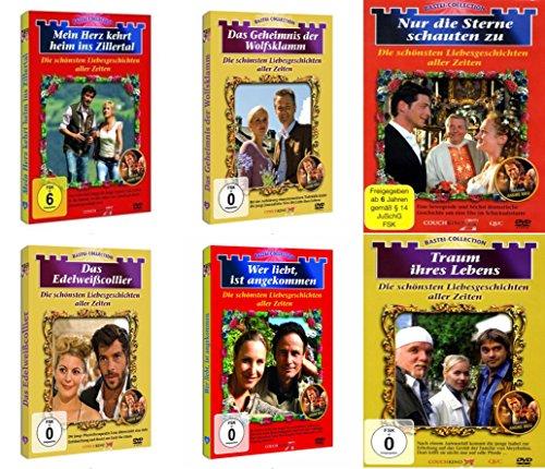 6 Filme BASTEI LIEBESGESCHICHTEN Collection DAS EDELWEIßCOLLIER + TRAUM IHRES LEBENS + NUR DIE STERNE SCHAUTEN ZU + WER LIEBT IST ANGEKOMMEN + DAS GEHEIMNIS DER WOLFSKLAMM + MEIN HERZ KEHRT HEIM INS ZILLERTAL DVD Edition