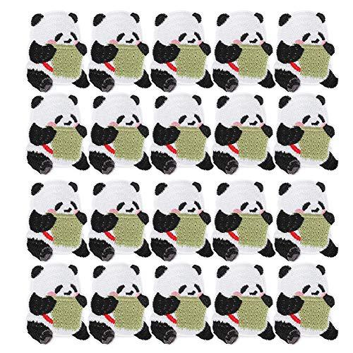 Changor Etiqueta engomada de Tela de Costura, Transferencia monótona Ropa Parches Panda Forma Paño Hecho Necesidades de reemplazo