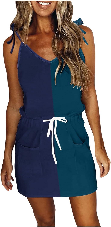 soyienma Women Summer Dresses,Women Casual V Neck Sleeveless Spaghetti Dresses Stripe Splicing Mini Dress with Belt