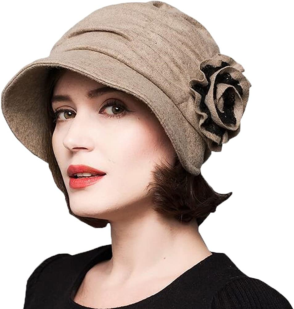 1920s Hat Styles for Women- History Beyond the Cloche Hat Maitose Womens Decorative Flowers Wool Beret $24.99 AT vintagedancer.com