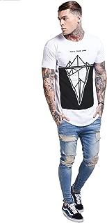 Mens B&W Print Longline Curved Hem T-Shirt Slim Fitted Tee 11 Sixth Legacy Illusive King