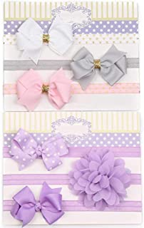 Secarond Baby Girl Flower Glitter Bow Headbands Set Hair Bands With Bows Hair Accessories for Newborn Infant Toddlers