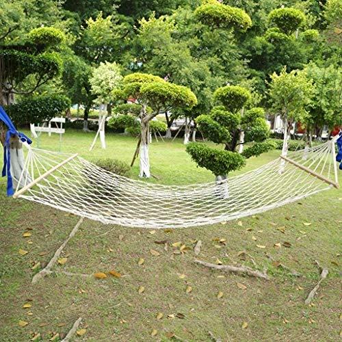 DaQingYuntur Hamac Simple de Corde de Coton de Loisirs en Plein air, hamac en Bois de Maille de bâton, 80 × 200cm Cm (Blanc)