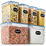Airtight Food Storage Containers - Wildone Cereal & Dry Food Storage Container Set of 6, Leak-proof & BPA Free, With 1 Measuring Cup & 20 Chalkboard Labels & 1 Chalk Marker