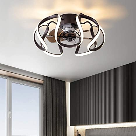 Amazon Com Caged Ceiling Fan With Light Remote 20inch Modern Led Semi Flush Mount Low Profile Color Temperature Speed Timing Changeable Indoor Fandelier For Home Kitchen Dining