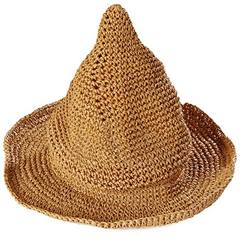 Leisial Sombrero Gorra Paja de la playa Gorro de Viaje Protector Solar Sombrero de Sol Respirable Sombrero Creativo Lindo Verano Primavera para los Unisex Bebé Niños ,Caqui