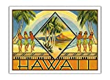 Pacifica Island Art Hawaii – Copertina di un opuscolo di viaggio hawaiano – Annuncio vintage hawaiano viaggi annuncio c.1943 – Premium carta opaca 61 x 81 cm