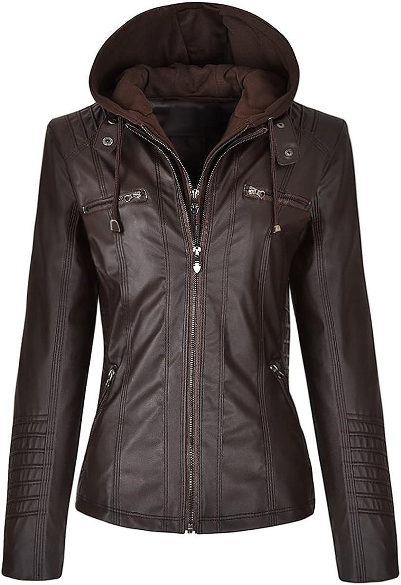 LP-FACON Women New Biker Slim Fit Detachable Zipper Hoodie Motorcycle Black/Brown Faux Leather Jacket