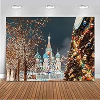 写真スタジオyoutube クリスマスの夜の街の景色 背景小道具ブース ベルとライトとカラフルな遊園地のクリスマスツリー バックグラウンドシュートビニール 現代の